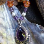 Amethyst with fresh water Pearls, Amber and Amethyst beads