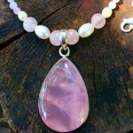 Rose Pendant, rose and pearl beads