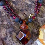 Garnet with lava stone and ebony wood